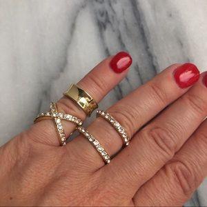Jewelry - Midi Ring Set Gold Tone Rhinestones Cuff Ring Set